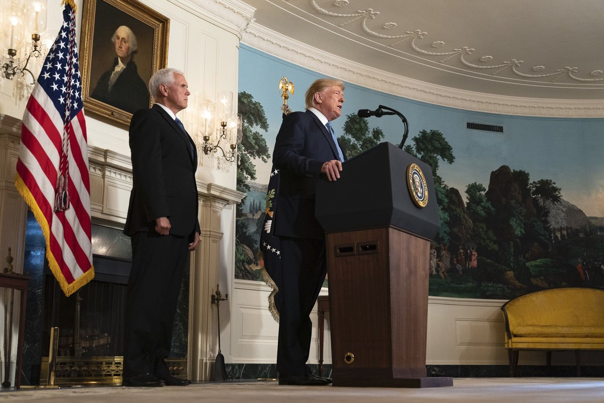 President Donald J. Trump, joined by Vice President Mike Pence, addresses his remarks Monday, August 5, 2019, in the Diplomatic Reception Room of the White House on the mass shootings over the weekend in El Paso, Texas and Dayton, Ohio. (Official White House Photo by Shealah Craighead)