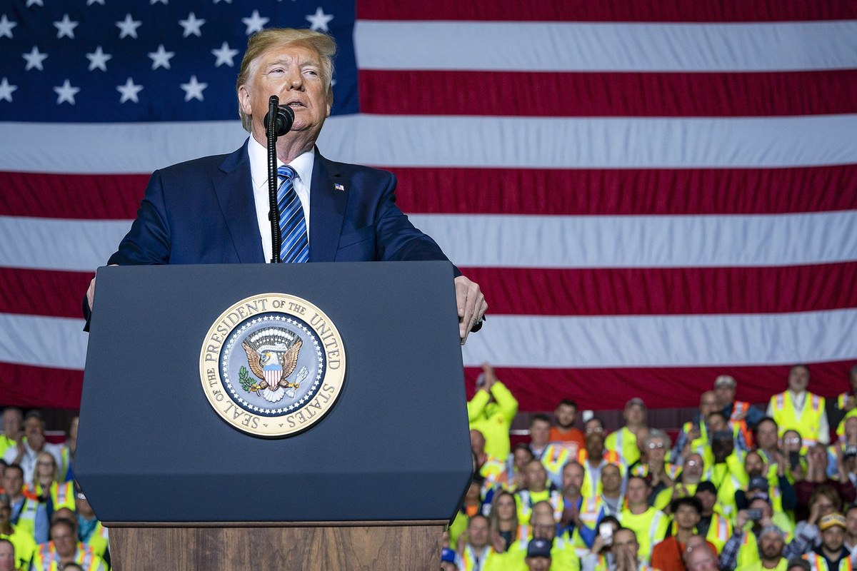 President Donald J. Trump delivers remarks Tuesday, Aug. 13, 2019, at the Shell Pennsylvania Petrochemicals Complex in Monaca, Pa. (Official White House Photo by Tia Dufour)