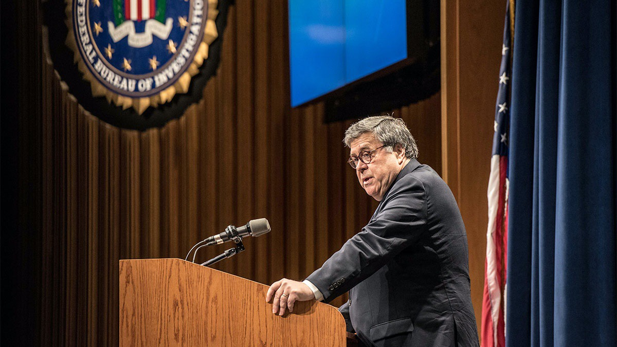 Attorney General William P. Barr addresses the 276th graduating class of the National Academy on June 7, 2019 (FBI)
