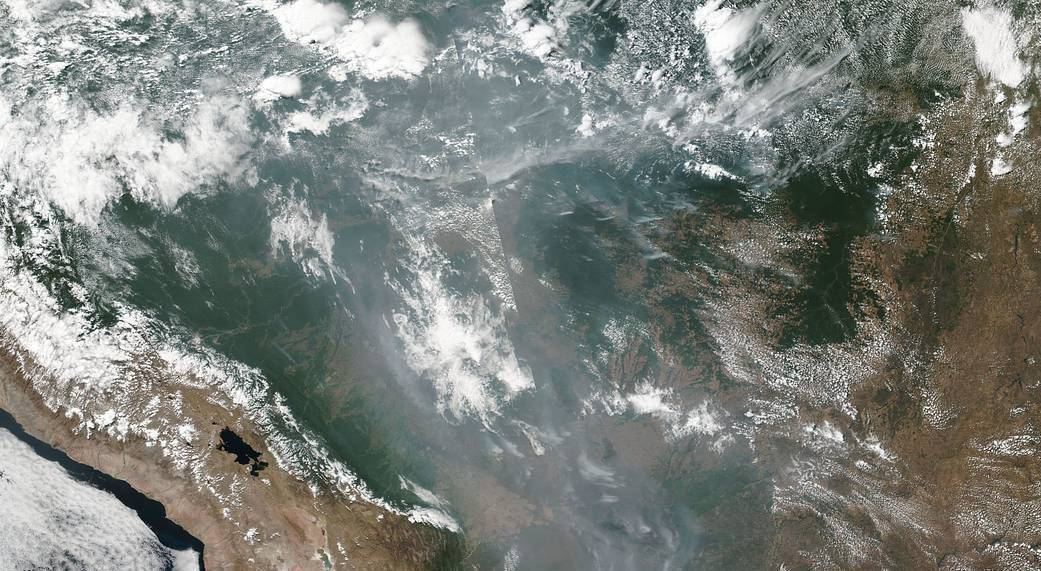NOAA/NASA's Suomi NPP satellite collected this natural-color image using the VIIRS (Visible Infrared Imaging Radiometer Suite) instrument on August 21, 2019. Smoke from the fires raging in in the Amazon basin has created a shroud that is clearly visible across much of the center of South America.