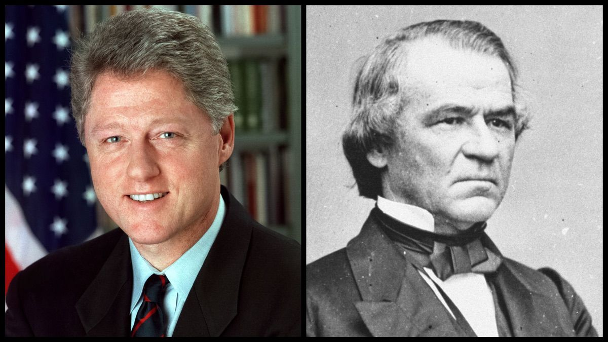 President Bill Clinton and President Andrew Johnson, the only two US presidents to be impeached. (Official Photos)