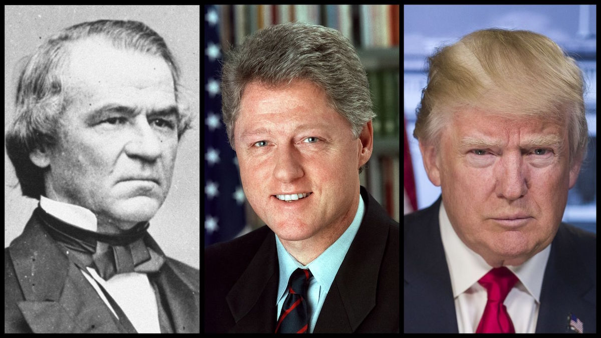 President Andrew Johnson, President Bill Clinton, and President Donald Trump – the only three US presidents to be impeached. (Official Photos)