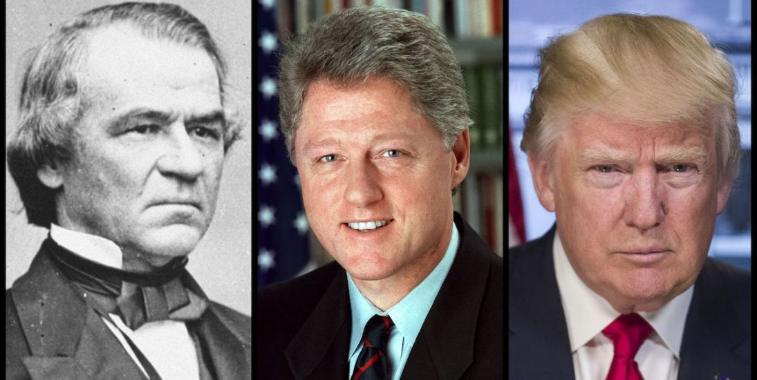 President Andrew Johnson, President Bill Clinton, and President Donald Trump - the only three US presidents to be impeached. (Official Photos)