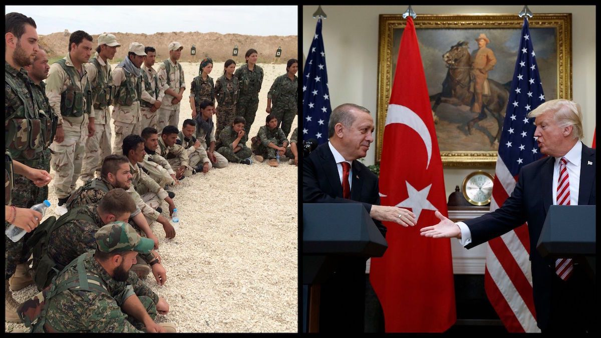 On the left: Members of the Syrian Democratic Forces gather after a training session at a firing range in northern Syria – May 21, 2016 (AP Photo/Robert Burns). On the right: President Donald Trump shakes hands with Turkish President Recep Tayyip Erdogan in the Roosevelt Room of the White House, Tuesday, May 16, 2017, in Washington. (AP Photo/Evan Vucci)