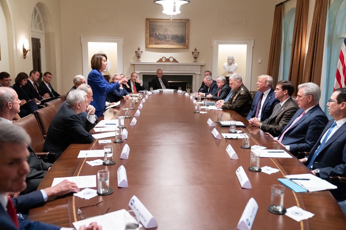Nancy Pelosi confronts Donald Trump in the White House on October 16, 2019. (Source: @realDonaldTrump/White House Photo)