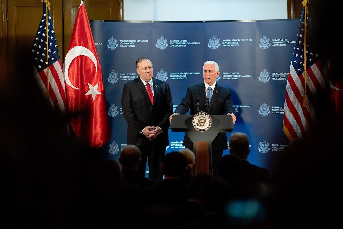 Vice President Mike Pence and Secretary of State Mike Pompeo participate in a news conference Thursday, October 17, 2019, in Turkey. (Official White House Photo by D. Myles Cullen)