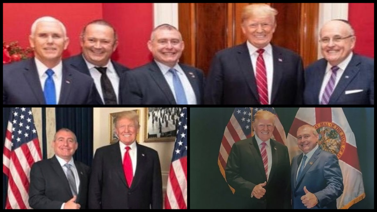 President Trump, Vice President Mike Pence, Rudy Giuliani, Lev Parnas, and Igor Fruman. (Source: social media posts)