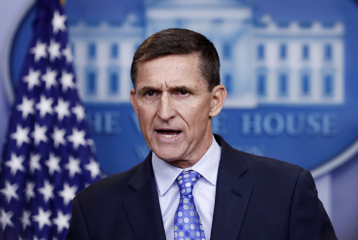 In this Feb. 1, 2017 file photo, National Security Adviser Michael Flynn speaks during the daily news briefing at the White House, in Washington. (AP Photo/Carolyn Kaster)
