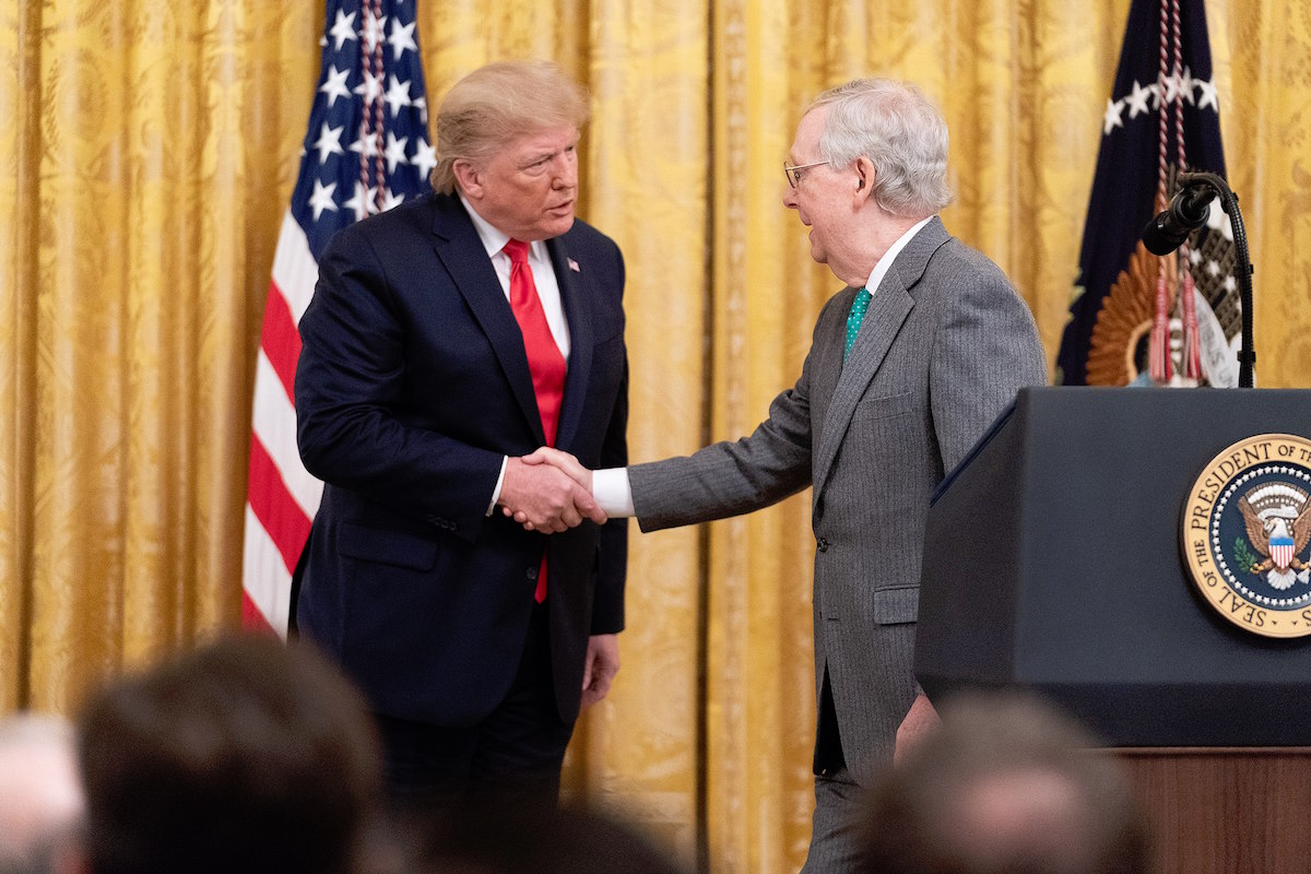 President Donald J. Trump honors Senate Majority Leader Mitch McConnell during the federal judicial confirmation milestones event, Wednesday, Nov. 6, 2019, in the East Room of the White House. (Official White House Photo by Shealah Craighead)