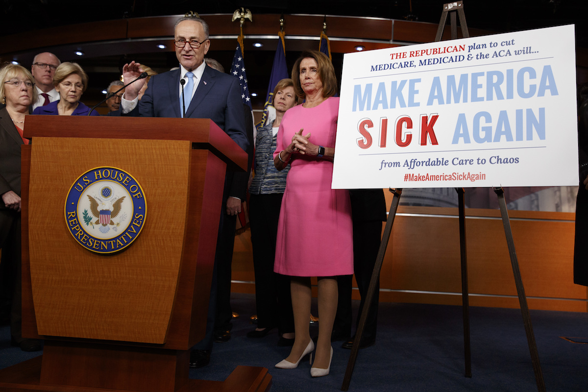 Congressional Democrats speak during a health care news conference on Capitol Hill, Wednesday, Jan. 4, 2017, in Washington.(AP Photo/Evan Vucci)