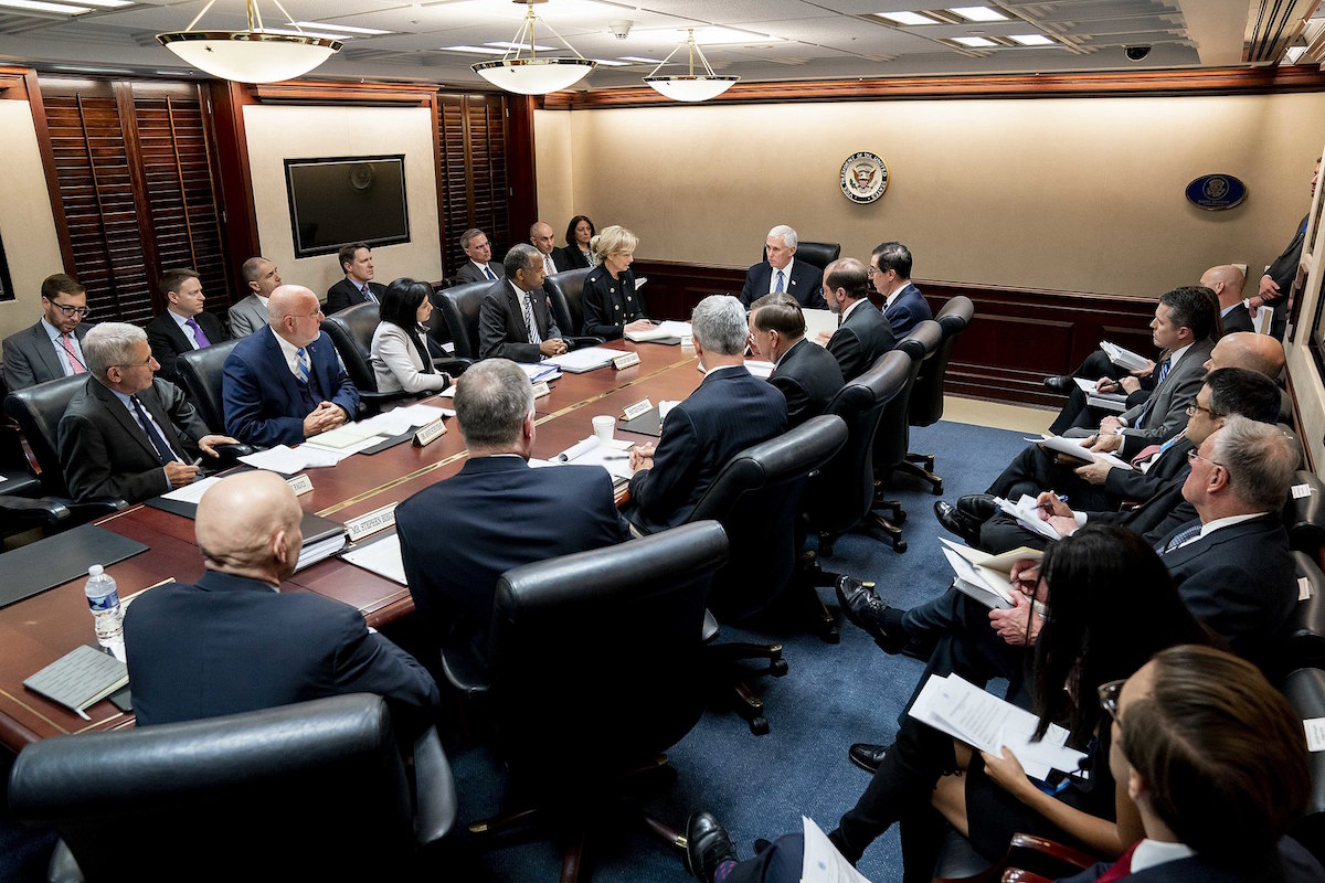 Vice President Mike Pence meets the White House Coronavirus Task Force Principals Monday, March 2, 2020, in the White House Situation Room. (Official White House Photo by Andrea Hanks)