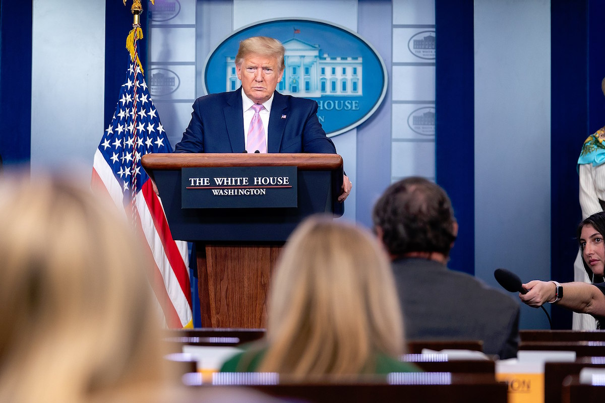 President Donald J. Trump listens to a reporter's question during the coronavirus update briefing Saturday, April 4, 2020, in the James S. Brady Press Briefing Room of the White House. (Official White House Photo by Tia Dufour)