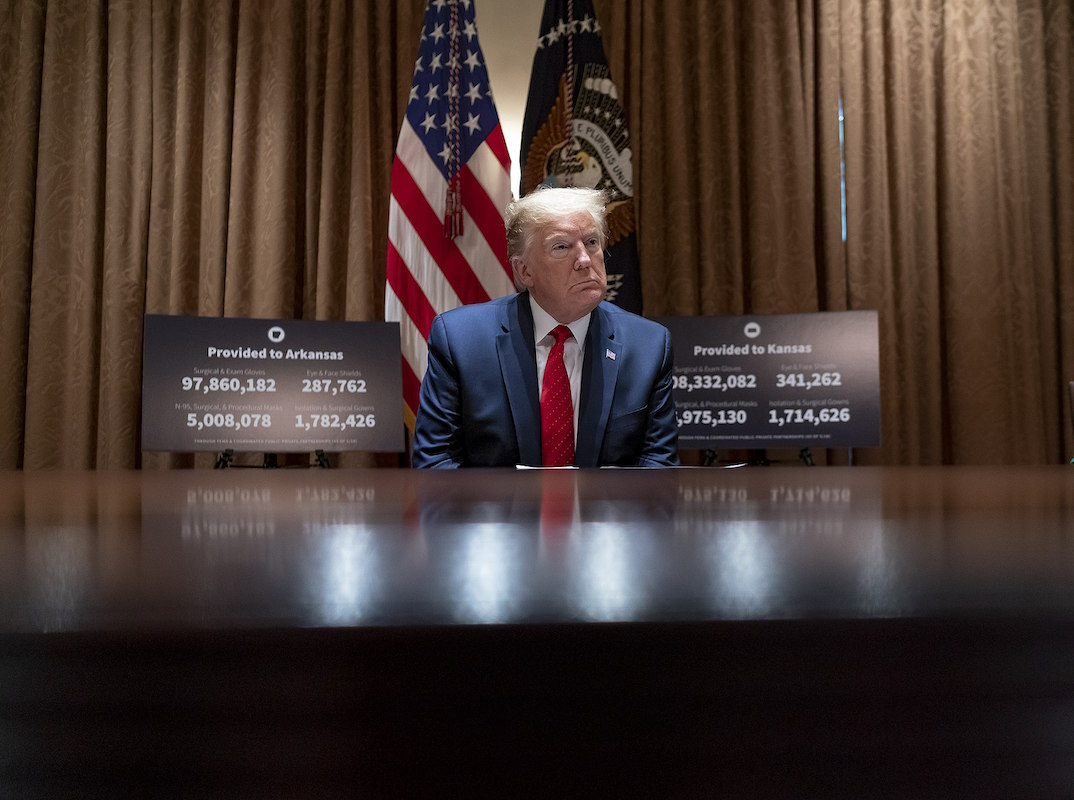President Donald J. Trump meets with Arkansas Gov. Asa Hutchinson and Kansas Gov. Laura Kelly Wednesday, May 20, 2020, in the Cabinet Room of the White House. (Official White House Photo by Shealah Craighead)