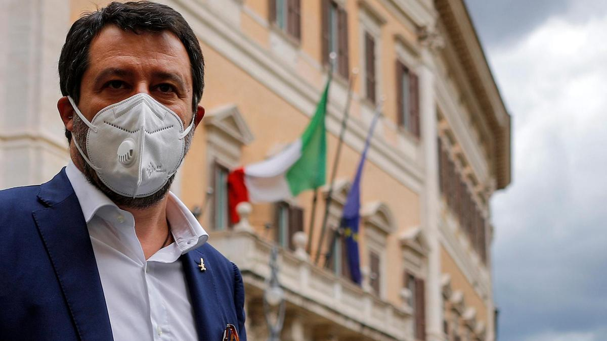 Former Deputy Prime Minister of Italy Matteo Salvini, leader of Italy's League, outside the Chamber of Deputies, Rome, Italy (EPA)