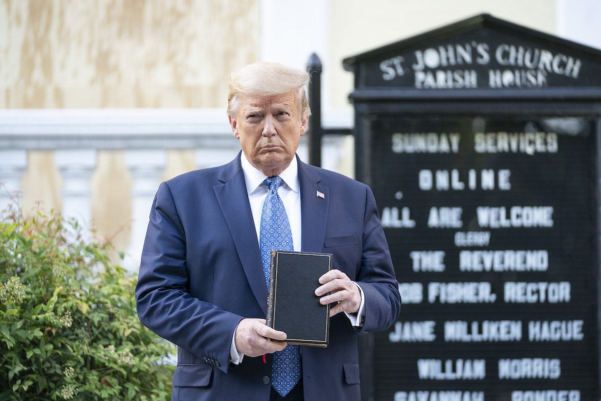 President Donald J. Trump stages a photo op in front of St. John's Episcopal Church after violently clearing protestors in nearby Lafayette Square Sunday evening, June 1, 2020. (Official White House Photo by Shealah Craighead)