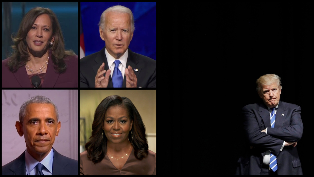 From top left: Democratic Vice Presidential Nominee Kamala Harris, Democratic Presidential Nominee Joe Biden, former President Barack Obama, and former First Lady Michelle Obama (C-SPAN). Right: President Donald Trump (AP)