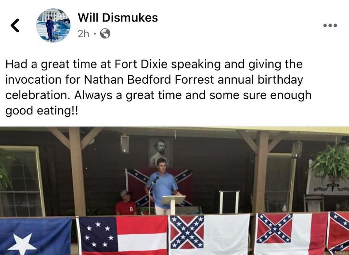 Alabama State Rep. Will Dismukes (R) speaks at the annual birthday celebration of Nathan Bedford Forrest.