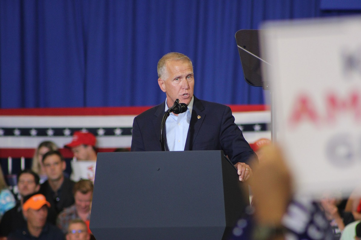 Senator Thom Tillis at the Keep America Great rally in Fayetteville, NC on September 9, 2019. (Jackson A. Lanier/Creative Commons)