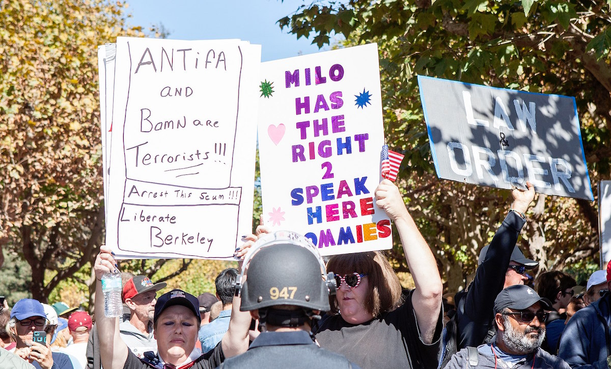 Trump supporters hold signs on Sproul Plaza at UC Berkeley – September 24, 2017. (Pax Ahimsa Gethen/Creative Commons BY-SA 4.0)