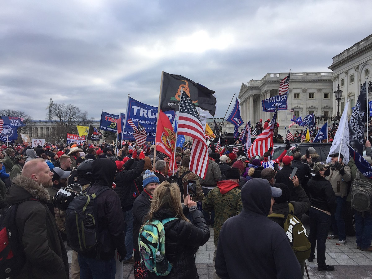 Crowd of Trump supporters marching on the US Capitol on 6 January 2021, ultimately leading to the building being breached and several deaths. (TapTheForwardAssist, CC BY-SA 4.0 via Wikimedia Commons)
