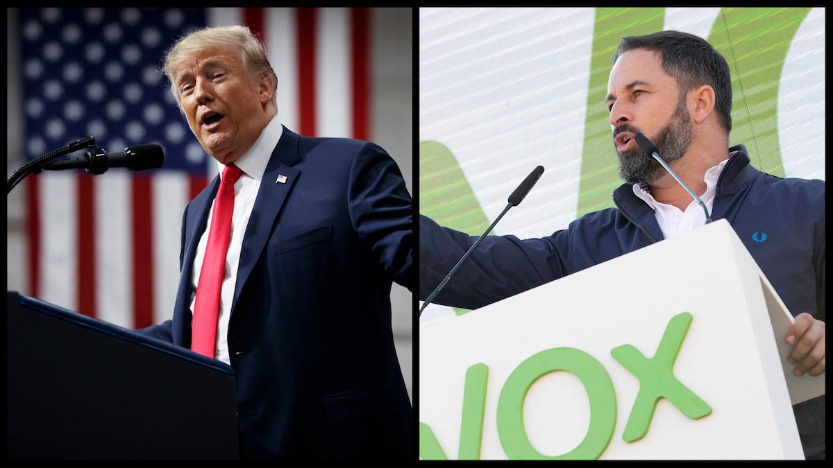 Former President Donald Trump (AP) and Vox Party President Santiago Abascal (Contando Estrelas from Vigo, España / Spain, CC BY-SA 2.0 via Wikimedia Commons)