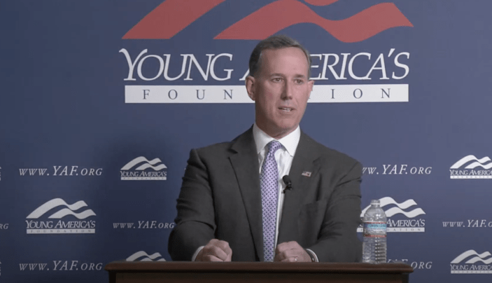 Rick Santorum addresses a right-wing student conference on 23 April. (Young America's Foundation via YouTube)