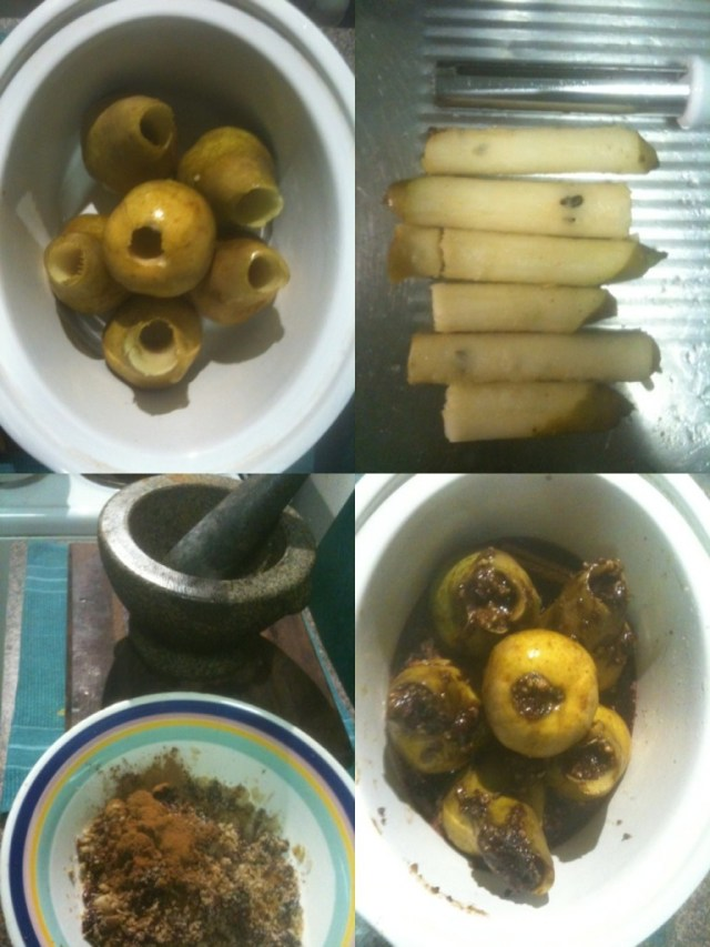 Peached Pears - cored, cores, spices, packed