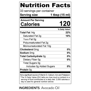 Avocado oil nutri info