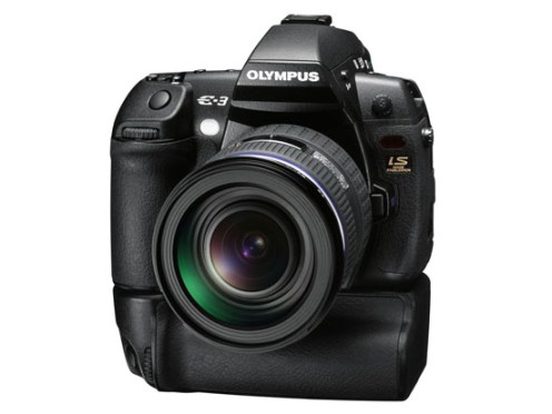 Olympus E-3 DSLR (front view with battery grip)