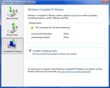 Vista Backup Status and Configuration