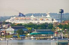 Cruise ship at bay