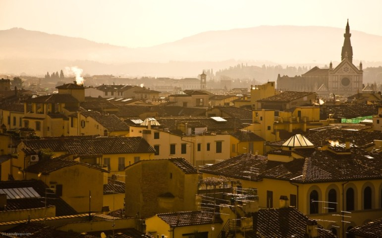 Florence rooflines in early morning sunlight