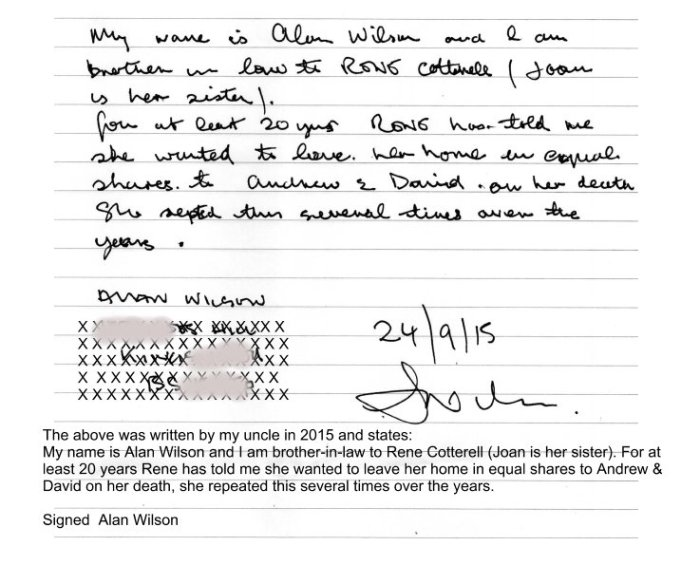 Alan Wilson Statement Family Evidence