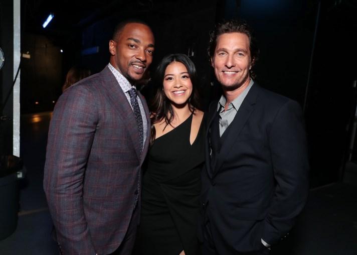 Las Vegas, NV - April 23, 2018: Anthony Mackie, Gina Rodriguez and Matthew McConaughey