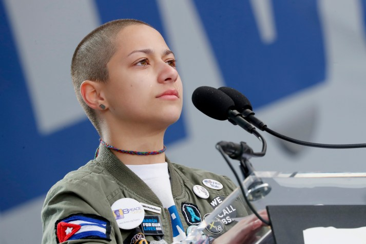WASHINGTON, DC - MARCH 24: Emma Gonzalez cries onstage at March For Our Lives on March 24, 2018 in Washington, DC. (Photo by Paul Morigi/Getty Images for March For Our Lives)