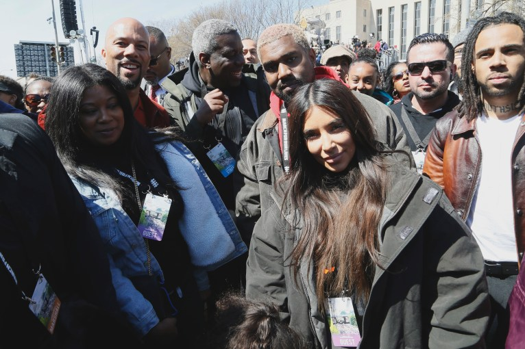 WASHINGTON, DC - MARCH 24: Common (L), Kanye West, and Kim Kardashian West (C) attend March For Our Lives on March 24, 2018 in Washington, DC. (Photo by Paul Morigi/Getty Images for March For Our Lives)