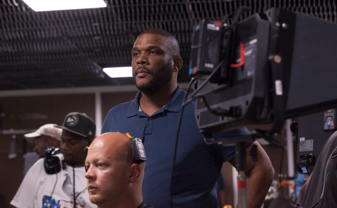 Director Tyler Perry on the set of ACRIMONY.