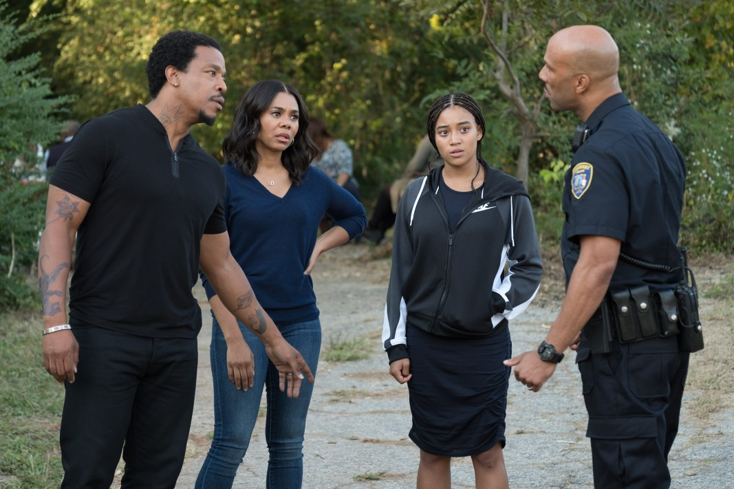 L-R: Russell Hornsby, Regina Hall, Amandla Stenberg, and Common in Twentieth Century Fox's THE HATE U GIVE. Photo Credit: Erika Doss.