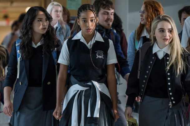 L-R: Megan Lawless, Amandla Stenberg, and Sabrina Carpenter in Twentieth Century Fox's THE HATE U GIVE. Photo Credit: Erika Doss.