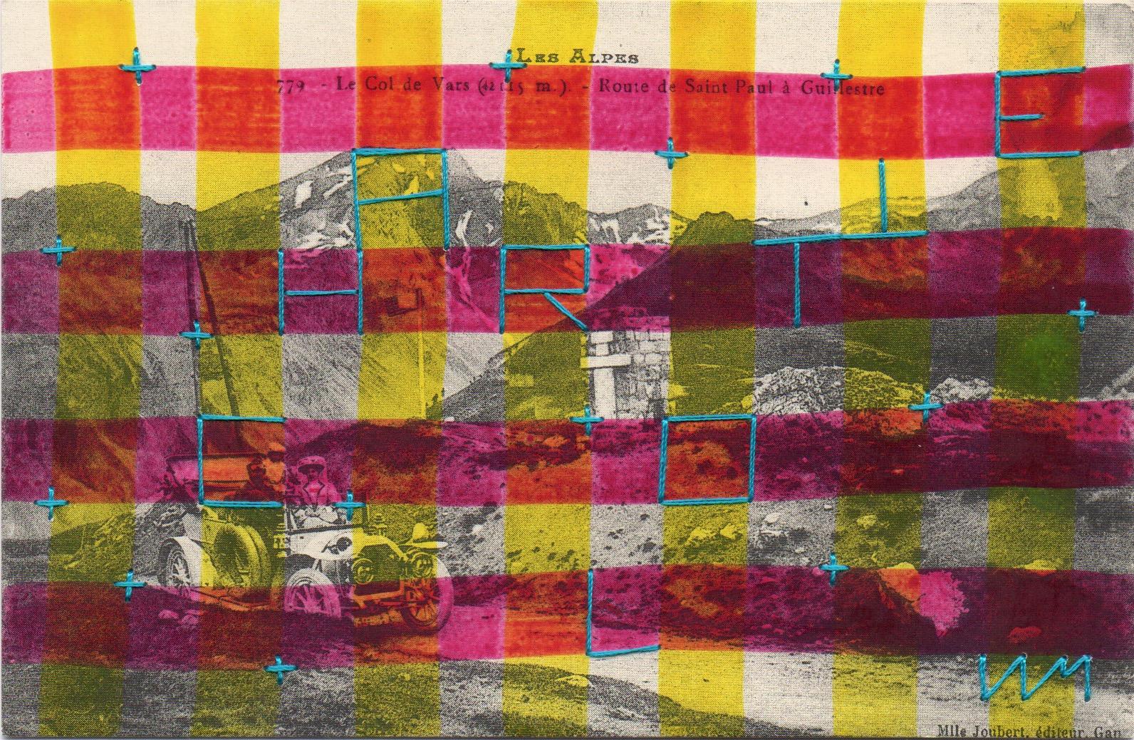 """Exposition à la galerie Art Show, """"Charlotte"""", carte postale brodée, 9 x 13 cm, Raphaël LAM"""