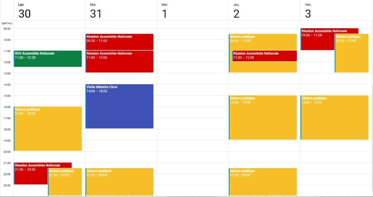 Agenda 30 au 3 nov 2017