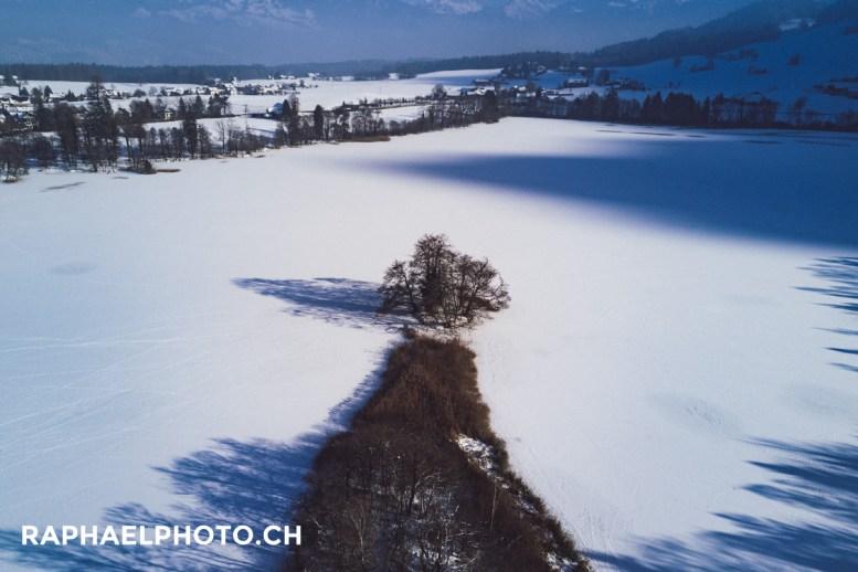 Halbinsel auf dem gefrorenen Amsoldingersee
