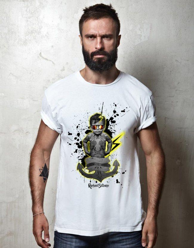 T-shirt Homme bébé Tatoué, T-shirt Homme Humoristique, T-shirt Raphael Setiano.