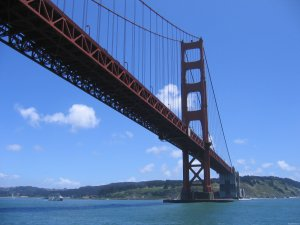 The Golden Gate Bridge in San Francisco with a depth-to-span ratio of 1:10.