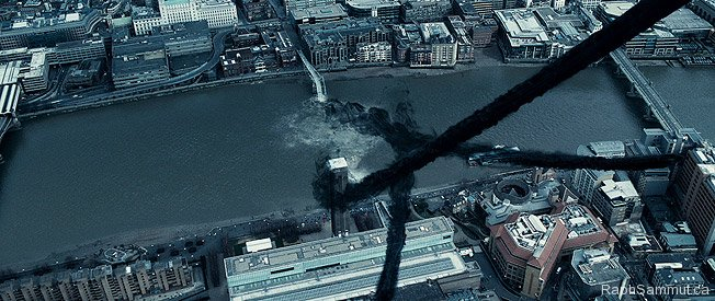 "The Millennium Bridge, following its collapse in the movie, ""Harry Potter and the Half-Blood Prince"""