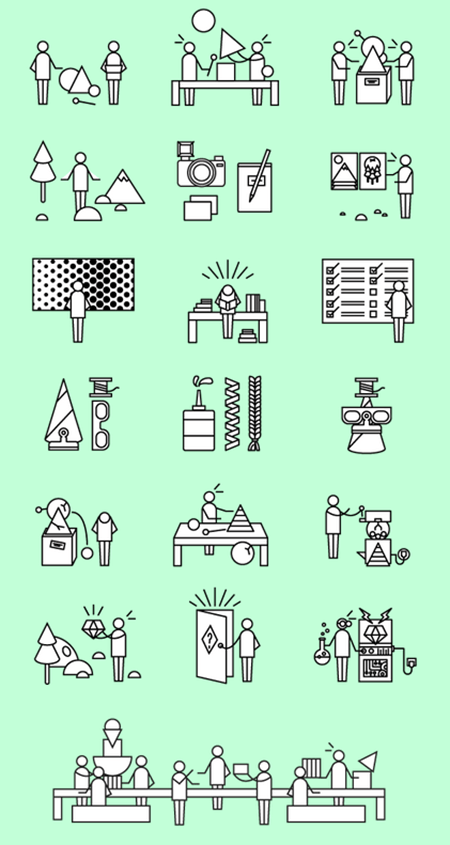 custom characters built with simple shapes