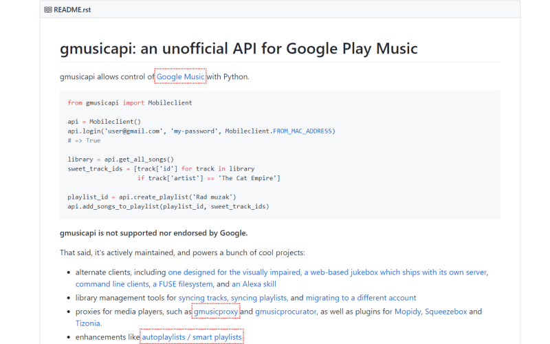 Unofficial Google Play Music API