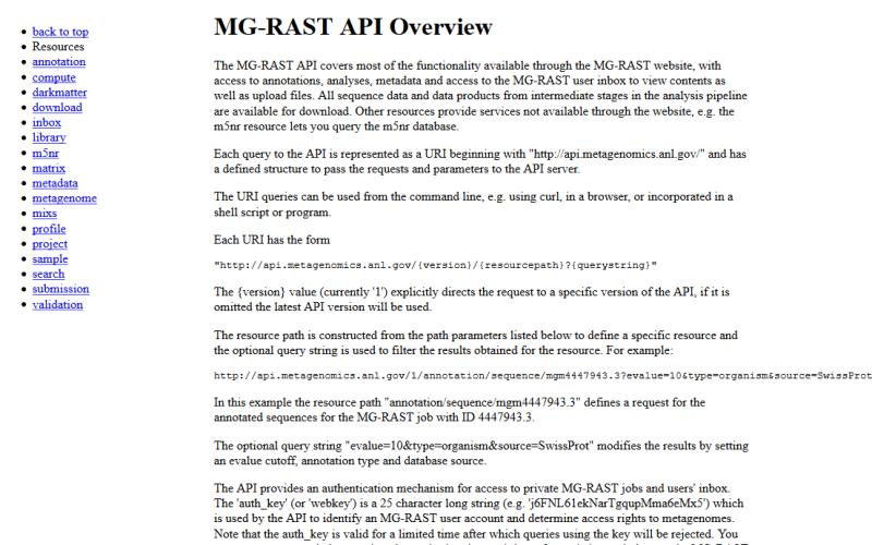 MG-RAST API