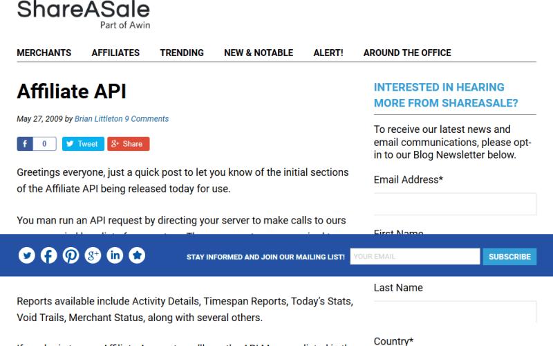 ShareASale Affiliate API
