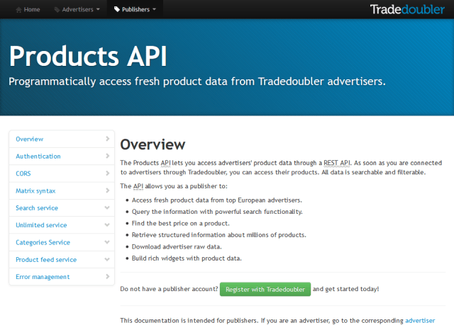 Trade Doubler Products API